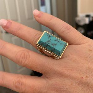 Large blue/turquoise ring with crystal accents